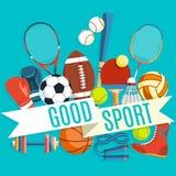 Satz bunte Sportbälle und Spieleinzelteile an einem blauen Hintergrund Aufschrift GUTER SPORT Gesunde Lebensstilwerkzeuge Stockbilder