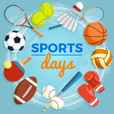 Satz bunte Sportbälle und Spieleinzelteile an einem blauen Hintergrund Bälle für Rugby, Volleyball, Basketball, Fußball Stockbild