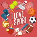 Satz bunte Sportbälle und Spieleinzelteile an einem roten Hintergrund Bälle für Rugby, Volleyball, Basketball, Fußball Stockfotos
