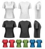 Satz bunte weibliche T-Shirts Lizenzfreies Stockfoto