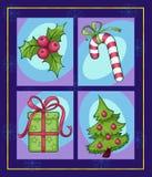 Satz bunte Weihnachtsbilder Stockfotos