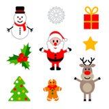 Satz bunte Weihnachtsdekorationen Stockbild