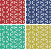 Satz bunter geometrischer Musterhintergrund Stockfotos