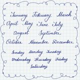 Satz callygraphic Namen von Wochentagen und -monaten Stockbilder