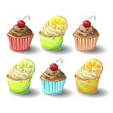 Satz capkakes Handabgehobener betrag Schokolade und Zitrusfrucht capcake Stockfotografie