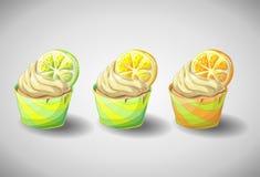 Satz capkakes Handabgehobener betrag Zitrusfruchtkleiner kuchen Stockbilder