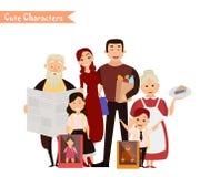 Satz Charaktere und Leuteeinkauf Lizenzfreies Stockfoto