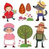 Satz Charaktere von den kleinen Rotkäppchenmärchen Lizenzfreie Stockbilder