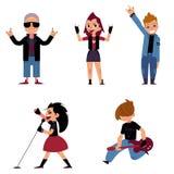 Satz Charaktere von Jugendlichen, die Rockmusik spielen und singen vektor abbildung