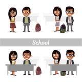 Satz Charaktergrundschüler Schüler und Schulmädchen Vektorillustration eines flachen Designs Lizenzfreie Stockfotos
