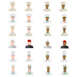 Satz Chefs in den verschiedenen Uniformen von verschiedenen Rennen in der Ebene Stockfotografie