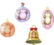 Satz Christbaumkugeln und eine Glocke mit einem Affen Abbildung des Vektor EPS10 Stockbilder