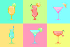 Satz Cocktailikonen Lizenzfreies Stockfoto