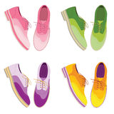 Satz - colorfull Schuhe Draufsicht der Schuhe zufällige Schuhe Stockfoto