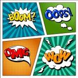 Satz Comics-Blasen im Knall Art Style Stockfotos
