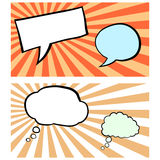 Satz Comicsblasen auf Sonnendurchbruch bacgrounds Stockbild