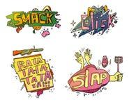 Satz comix Karikaturausrufe Klatschen Sie für die Zerquetschung oder überwältigende Frucht mit Fuß, Wolkenklicken für Finger auf  Stockfotos