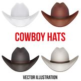 Satz Cowboyhüte Vektorabbildung getrennt Stockbilder