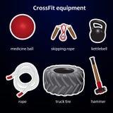 Satz crossfit Sportausrüstung Lizenzfreie Stockfotografie