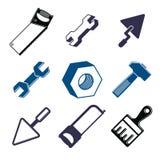 Satz 3d führte Werkzeuge, stilisierte grafische Elemente der Reparatur Thema einzeln auf Lizenzfreie Stockfotografie