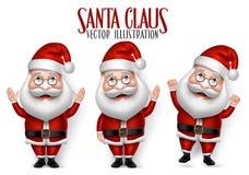Satz 3D realistische Santa Claus Cartoon Character für Weihnachten Stockfotos