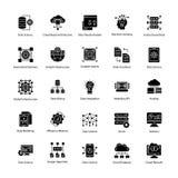 Satz Daten-Wissenschaft Glyph Vektor-Ikonen Stockbild