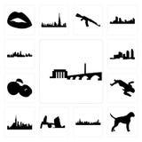 Satz DC-Skyline, Boxerhund, Long Island Chicagos, nyc Tatortkörper, Apfel, Kansas- Cityskylineikonen Lizenzfreie Stockfotografie