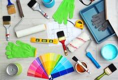 Satz Dekorateur ` s Werkzeuge stockbild