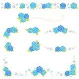 Blaurose-Perlenrahmen Lizenzfreies Stockfoto