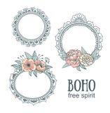 Satz dekorative Boho-Art-Felder mit Blumen Lizenzfreie Stockbilder