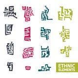 Satz dekorative Elemente in der ethnischen Art Lizenzfreies Stockfoto