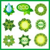 Satz dekorative Elemente für eco Design lokalisiert Stockfotos