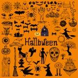 Satz dekorative Elemente Halloweens Hand gezeichnete Ikonen Stockbild