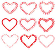 Satz dekorative Herzformen der Weinlese Rote Rose Lizenzfreies Stockbild