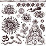 Satz dekorative indische Elemente und Symbole vektor abbildung
