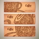 Satz dekorative Kaffeefahnen Lizenzfreies Stockfoto