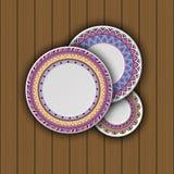 Satz dekorative Platten mit einer ethnischen Stammes- Verzierung von handwo lizenzfreie abbildung