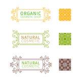 Satz dekorative Rahmen mit Strudeln und Blumen Lizenzfreie Stockfotos