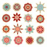 Satz dekorative Rosetteschneeflocken Stockfoto