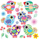 Satz dekorative Vögel Stockfoto