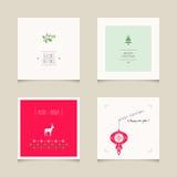 Satz dekorative Weihnachtskarten Stockfotografie