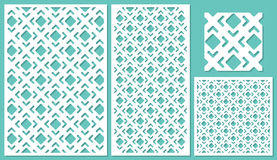 Satz dekorativen Plattenlaser-Ausschnitts Stockfoto