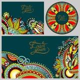 Satz dekorativer mit Blumenhintergrund, Schablone Lizenzfreie Stockfotos