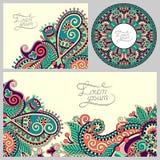 Satz dekorativer mit Blumenhintergrund, Schablone Stockfoto