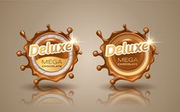 Satz deluxe Designaufkleber in der Goldfarbe lokalisiert auf Hintergrund Dynamisches Spritzen des Strudels der Milchschokolade Sc lizenzfreie abbildung