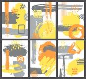 Satz der abstrakten Bürste streicht Artplakat der modernen Kunst vektor abbildung