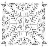 Satz der abstrakten schwarzen gezeichneten Hand blüht in der Gekritzelart Nahtloses Muster Vektorabbildung EPS10 Lizenzfreies Stockfoto