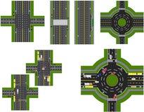 Satz der abstrakten Straßenkreuzung Kreuzungen von verschiedenen Straßen Karussell-Zirkulation transport Abbildung Lizenzfreie Stockbilder