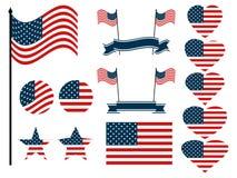 Satz der amerikanischen Flagge Sammlung Symbole mit der Flagge der Vereinigten Staaten von Amerika Vektor Stockfotos