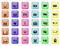 Satz der Anwendungs- und Kommunikationsikone knöpft Hintergrund Stock Abbildung